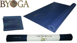 Byoga© tapis de yoga latex naturel bleu