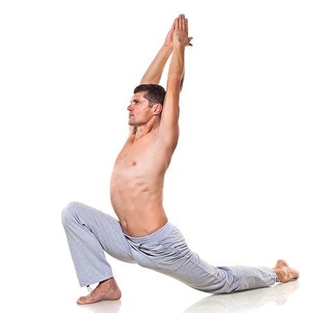 Posture de yoga homme d'étirement dorsal
