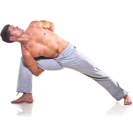 Posture de yoga homme d'étirement