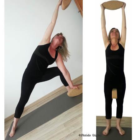 Posture yoga debout avec brique yoga egg ovale