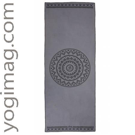 Serviette de yoga antidérapante mandala grise